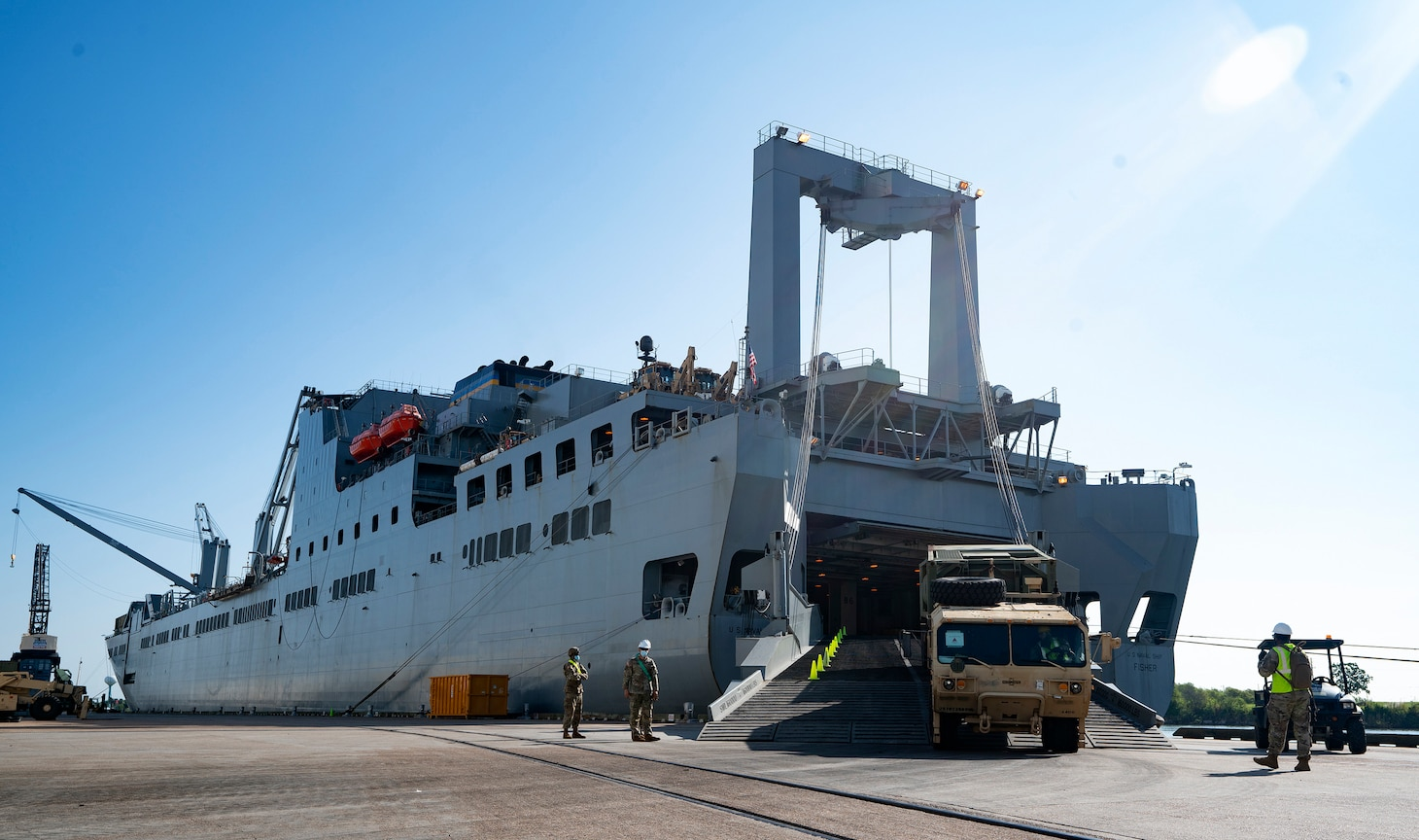 A Modular Fuel System vehicle leaves the Large, Medium- Speed, Roll-on/Roll-off Fisher ship after soldiers offloaded cargo during the Joint Readiness Exercise 20, at the Port of Port Arthur, Texas, Sept. 26, 2020.