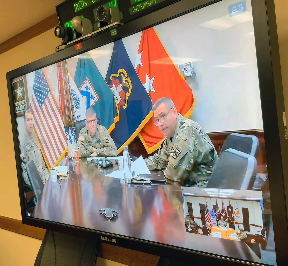 Lt. Gen. James Rainey, U.S. Army Combined Arms Center commanding general and Fort Leavenworth Commander, hosted a Virtual Battlefield Circulation Video Teleconference from Fort Leavenworth, Kansas, with U.S. Army Medical Center of Excellence key leaders at Joint Base San Antonio-Fort Sam Houston Oct. 19. MEDCoE is one of 10 Centers of Excellence under the Combined Arms Center and the U.S. Army Training and Doctrine Command.