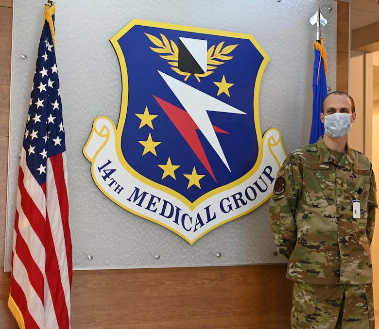 U.S. Air Force 2nd Lt. Ian Kline, 14th Medical Group lieutenant casual, poses for a photo on Oct. 29, 2020, at Columbus Air Force Base, Miss. While working in the medical group, Kline is a part of the Casual Lieutenant Program which gives casual lieutenants an opportunity to show off their skillset and work at different agencies around base. (U.S. Air Force photo by Airman 1st Class Davis Donaldson)