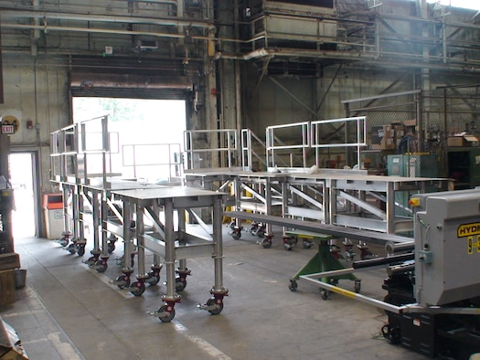 Ironworkers with the Arnold Engineering Development Complex (AEDC) Model and Machine Shop complete an aluminum platform system, shown here Sept. 16, 2020, fully assembled. The platform was installed in the AEDC C-2 Engine Test Cell. (U.S. Air Force photo)