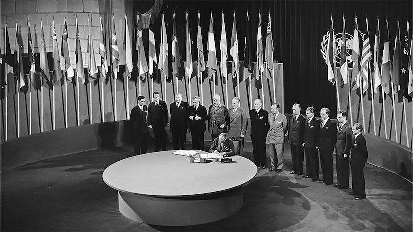 The 1945 San Francisco Conference at which 46 nations signed the United Nations Declaration establishing one of the key institutions of the post-war U.S.-led international system.(UN Photo/Historical Photo)