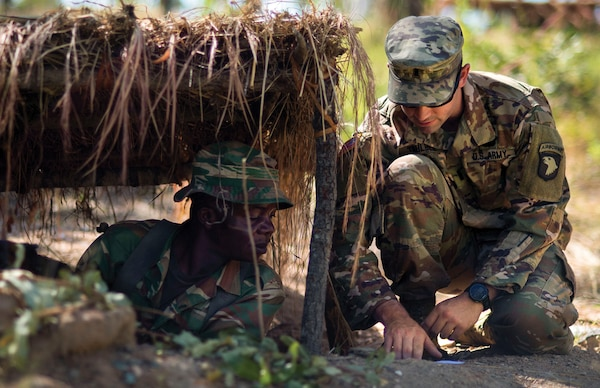 """ZAMBATT V, the fifth iteration of troops from the country of Zambia to go in support of the United Nation's Multidimensional Stabilization Mission in the Central African Republic (MINUSCA), spent more than six weeks working with U.S., U.K., and French partners training and preparing for their mission to CAR."""" (MC2 (SW/AW) Evan Parker)"""
