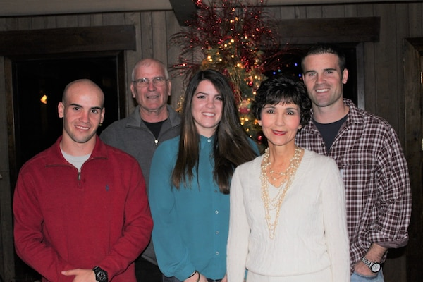 """Capt. Mark """"Tyler"""" Voss, far right, with his family for Christmas in 2012."""
