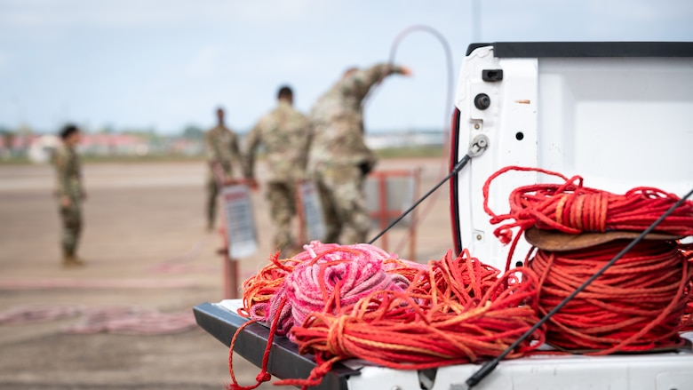 Rope is prepared for cordoning as part of Global Thunder 21 at Barksdale Air Force Base, La., Oct. 20, 2020.