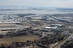 An aerial view of Offutt Air Force Base, Nebraska, and the surrounding areas affected by flood waters March 17, 2019.