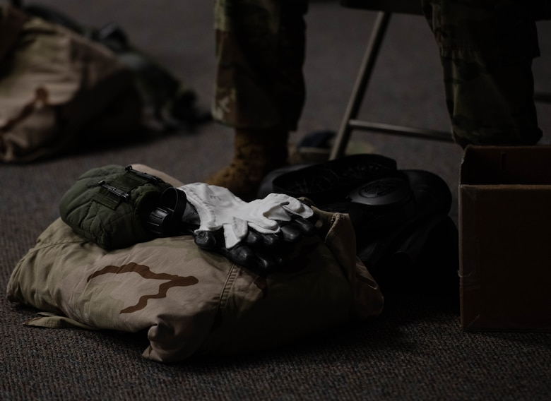 Pile of MOPP gear on the floor.