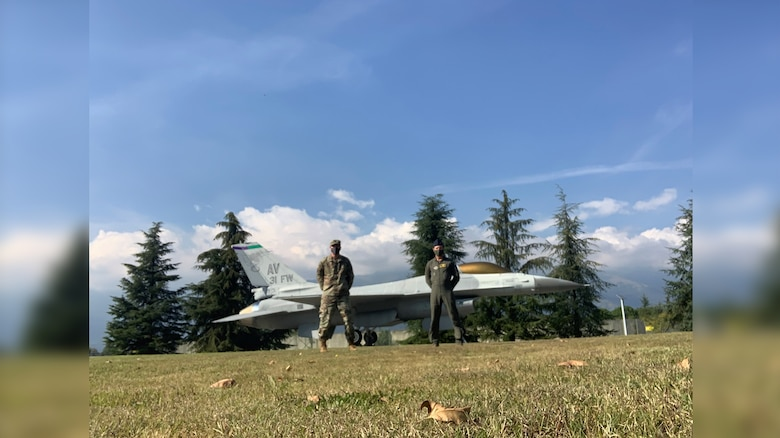 Pictured from left are Lt Col Charles Toth and Lt Col Corydon Jerch at Aviano Air Base in Italy. Photo courtesy of Lt Cols Toth and Jerch.