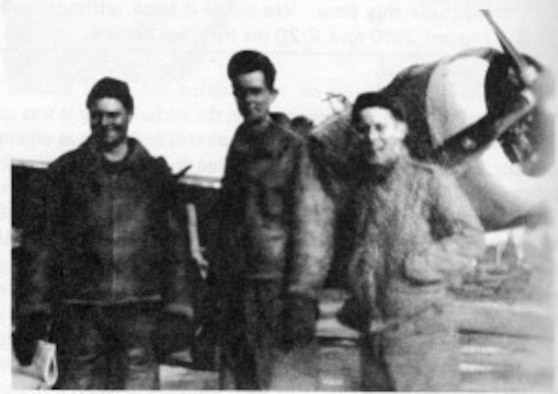 """Ground crew of Jack Pitts P-47D, 9Q-O, Gus (probably T/Sgt Gustave J. Jennett, Moses (possibly S/Sgt Roland G. Moses) and Victor B. Kramer (Via Jack Pitts book, """"P-47 Pilot: Scared, Bored, & Deadly."""")"""