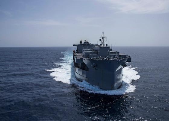 """The Expeditionary Sea Base USS Hershel """"Woody"""" Williams (ESB 4) sails in the Atlantic Ocean, Oct. 17, 2020."""