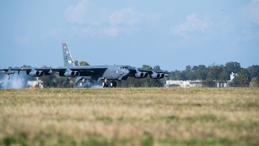 A B-52H Stratofortress lands at Barksdale Air Force Base, La., as part of Global Thunder 21, Oct. 20, 2020. GLOBAL THUNDER is an invaluable training opportunity to exercise all U.S. Strategic Command mission areas and create the conditions for strategic deterrence against a variety of threats. (U.S. Air Force photo by Airman 1st Class Jacob B. Wrightsman)