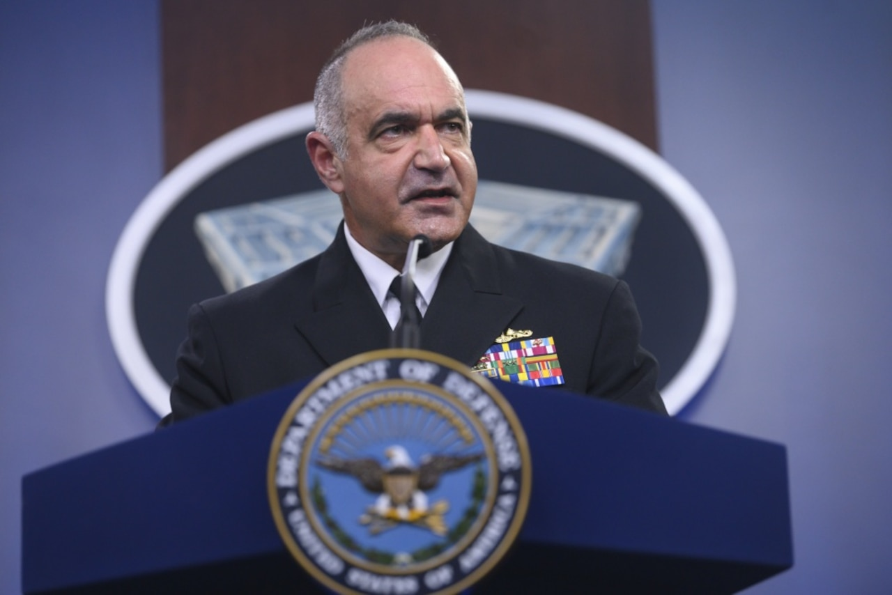 Navy Adm. Charles A. Richard speaks to reporters at Pentagon.