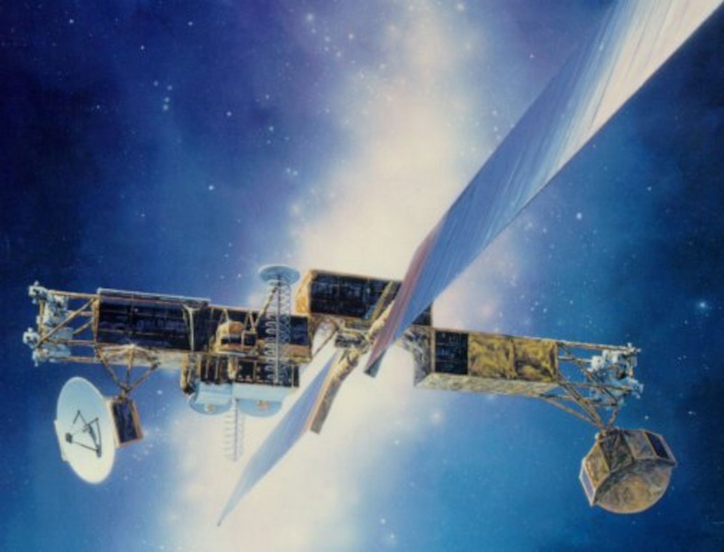 Artwork depicting a satellite floating against the darkness of space