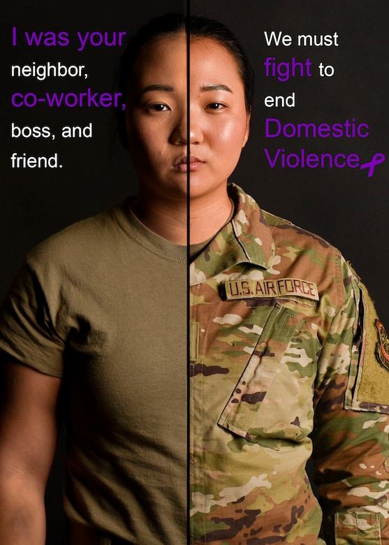 U.S. Air Force 2nd Lt. Michelle Chang, 92nd Air Refueling Wing command information officer, poses for a photo depicting the importance of domestic violence awareness for Domestic Violence Awareness Month at Fairchild Air Force Base, Washington, October 9, 2020. (U.S. Air Force photo illustration by Airman 1st Class Anneliese Kaiser)