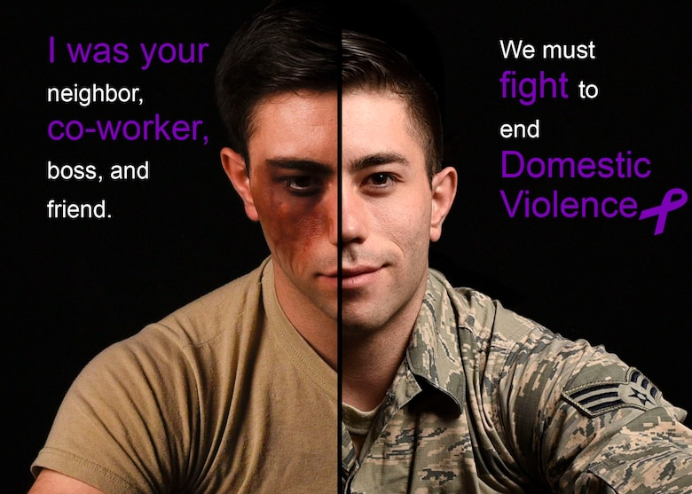 U.S. Air Force Senior Airman Lawrence Sena, Air Refueling Wing command information blank, poses for a photo depicting the importance of domestic violence awareness for Domestic Violence Awareness Month at Fairchild Air Force Base, Washington, October 9, 2020. (U.S. Air Force photo illustration by Airman 1st Class Anneliese Kaiser)