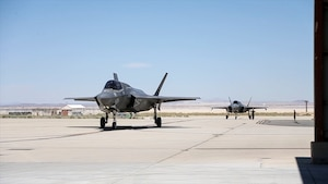 A pair of F-35Bs return from a test flight at Edwards Air Force Base, California, July 10. (Photo courtesy of Lance Cpl. Larisa Chavez, MCAS Yuma)