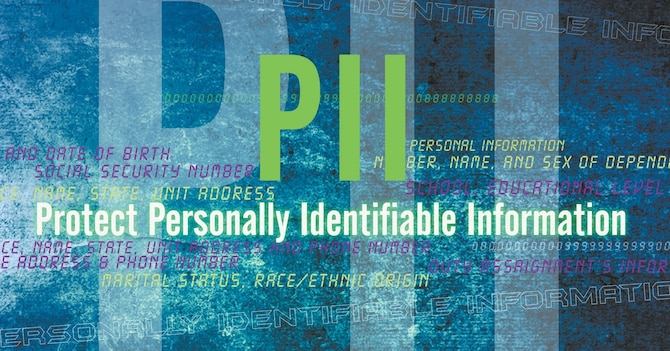 PII is unique information about an individual not releasable to the public without the written consent of the individual. Examples includes Social Security numbers, dates of birth, marital status, race or financial information. (Air Force Graphic by Naoko Shimoji)