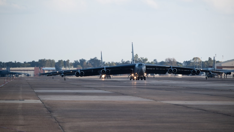 Two B-52H Stratofortresses taxi the flight line at Barksdale Air Force Base, La., as part of Global Thunder 21, Oct. 20, 2020. GLOBAL THUNDER is an annual command and control exercise designed to train U.S. Strategic Command forces and assess joint operational readiness. (U.S. Air Force photo by Airman 1st Class Jacob B. Wrightsman)