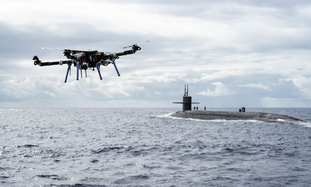 Unmanned aerial vehicle delivers payload to USS Henry M. Jackson near Hawaiian Islands, Pacific Ocean, October 19, 2020 (U.S. Navy/Devin M. Langer)