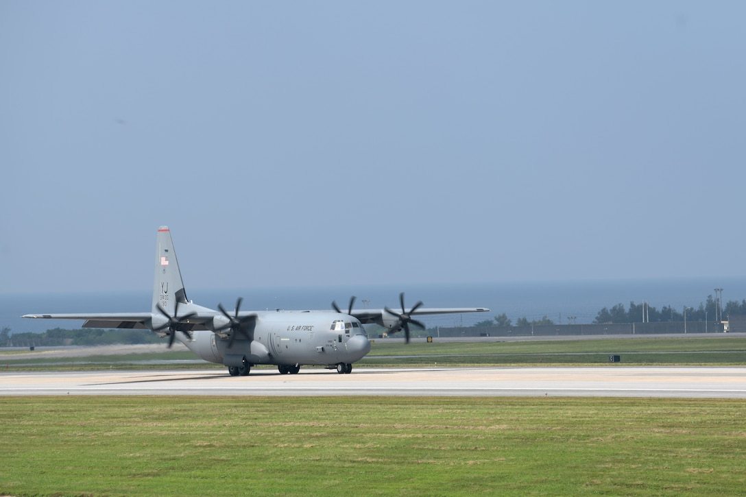 A C-130J Super Hercules from the 374th Airlift Wing, Yokota Air Base, Japan, lands on Kadena Air Base, Japan, for the third iteration of WestPac Rumrunner held Oct. 16, 2020. This exercise is a way to integrate a variety of skills into one training scenario and test interoperability with other services. This is an example of how the military continues to adapt and improve training every day to ensure readiness if ever called upon to defend the vital interests of the U.S. and Japan. (U.S. Air Force photo by Airman 1st Class Rebeckah Medeiros)