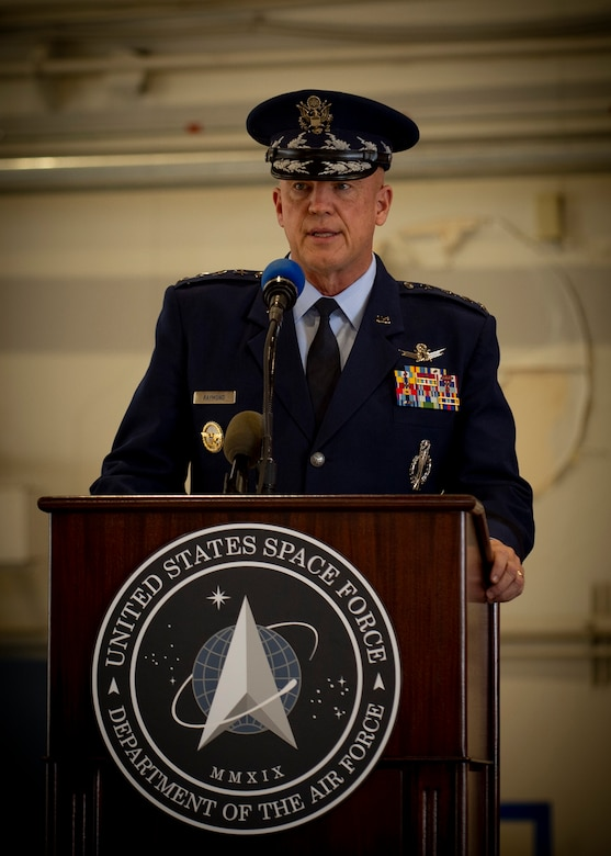 """Gen. John W. """"Jay"""" Raymond, U.S. Space Force Chief of Space Operations, shares his vision for the U.S. Space Force's new Field Command, Space Operations Command (SpOC), during a ceremony at Peterson Air Force Base, Colo., Oct 21, 2020."""