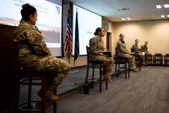 A group of women-senior leaders sit as they get ready for Cannon Air Force Base's first Women's Senior Leadership panel at CAFB N.M., Oct. 15, 2020. The WLP was composed entirely of women, for an audience of men and women to listen to one another's experiences, and come together through shared and similar experiences. (U.S. Air Force photo by Senior Airman Gage Daniel)