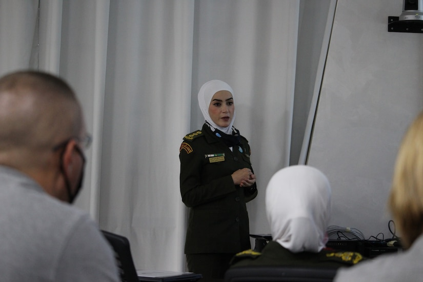 Capt. Jansait Nasser of the Jordanian Royal Medical Services presents on COVID-19 infection prevention and control at the subject matter expert exchange with the 3rd Medical Command (Deployment Support) earlier this month. The RMS and 3 MCDS met over four days to discuss interoperabilities, with special focus on COVID-19 response and requirements.
