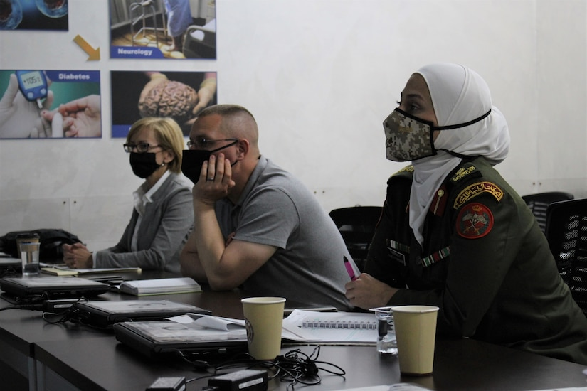 U.S. Army and Jordanian medical professionals listen to talks on COVID-19 operations at a subject matter expert exchange earlier this month. The 3rd Medical Command (Deployment Support) and Royal Medical Services met over four days to discuss interoperabilities, with special focus on COVID-19 response and requirements.