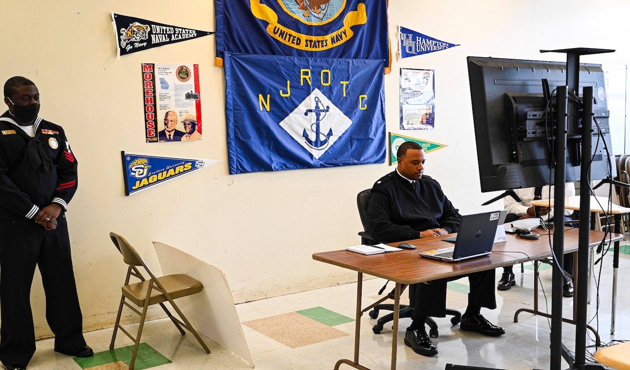 Lt. Cdr. Dominique Jackson, of Navy Recruiting Command�s Diversity and Outreach department, speak virtually with members of local Junior Reserve Officer Training Corps (JROTC)