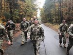 Sgt. 1st Class Brandon Bellmore, platoon sergeant for Company C, 53rd Signal Battalion, U.S. Army Space and Missile Defense Command, Landstuhl, Germany, marches in October 2019 in the Danish Contingent March, Rhein Ordinance Barracks, Germany. He recently received the SGM Larry Strickland Memorial Fund and Scholarship by the Association of the United States Army. The $4,000 scholarship is awarded annually to a noncommissioned officer who best exemplifies the Army's vision and influences others in shaping future leaders while practicing excellent stewardship.