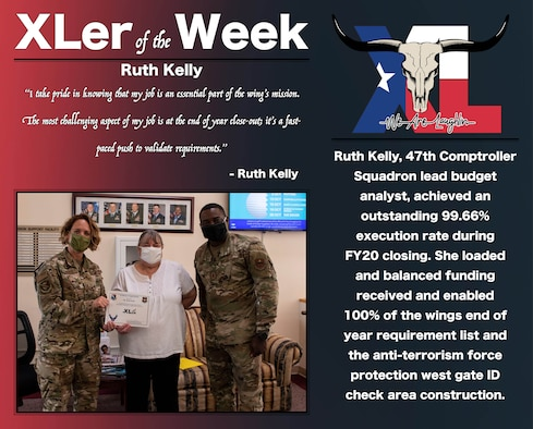 """Ruth Kelly, 47th Comptroller Squadron lead budget analyst, was chosen by wing leadership to be the """"XLer of the Week"""", the week of Oct. 21, 2020, at Laughlin Air Force Base, Texas. The """"XLer"""" award, presented byCol. Cary Jones, 47th Flying Training Wing vice commander, and Chief Master Sgt. Brian Lewis, 47th Operations Group superintendent, is given to those who consistently make outstanding contributions to their unit and the Laughlin mission. (U.S. Air Force Graphic by Airman 1st Class David Phaff)"""