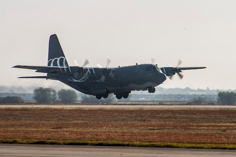 An AC-130W Stinger II gunship, Tail No. 1303, takes off on the runway at Cannon Air Force Base, N.M., for its final flight prior to retirement Oct. 19, 2020. As a gunship, Tail No. 1303 made its claim to fame by being the first gunship to record a combat kill on Feb. 9, 2011. It then went on to achieve another milestone by having the distinction of being the first 105mm cannon-installed whiskey to confirm a 105mm kill in December of 2016. (U.S. Air Force photo by Staff Sgt. Luke Kitterman)