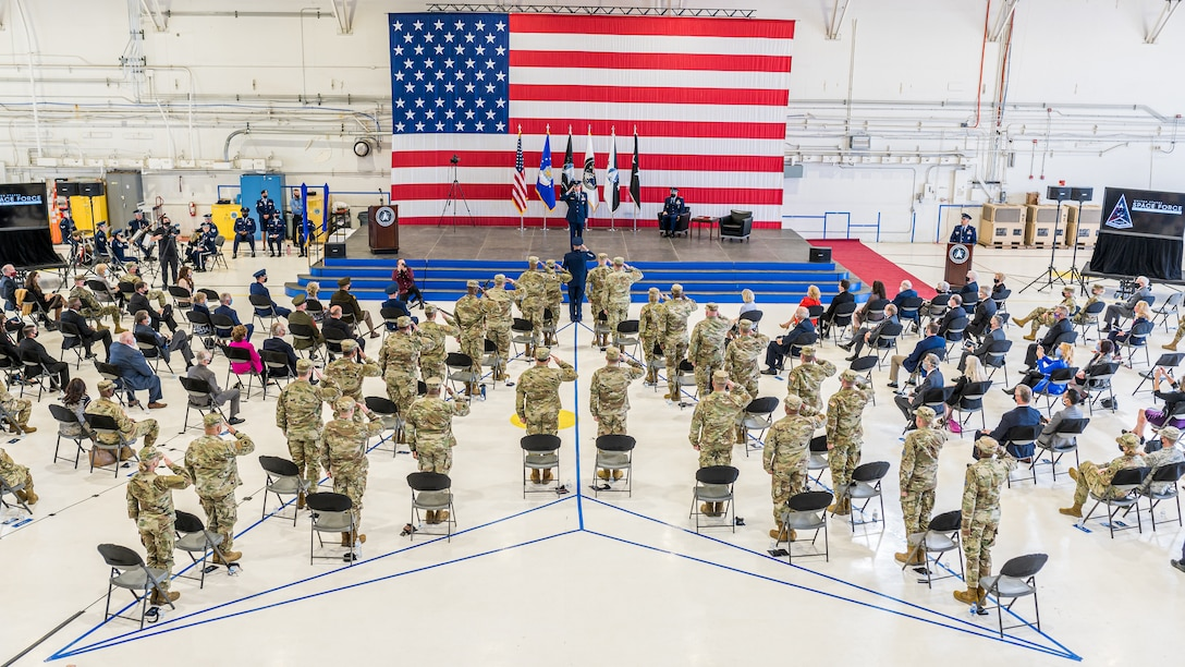 Lt. Gen. Stephen N. Whiting, first commander of the newly re-designated Space Operations Command, receives his first salute as commander from the Space Delta and Garrison commanders and senior enlisted advisors during a ceremony at Peterson Air Force Base, Colo., Oct 21, 2020.