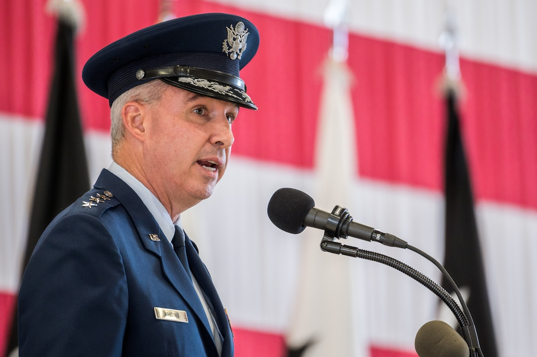 Lt. Gen. Stephen N. Whiting, first commander of the newly re-designated Space Operations Command, shares his vision for the U.S. Space Force's new Field Command during a ceremony at Peterson Air Force Base, Colo., Oct 21, 2020.
