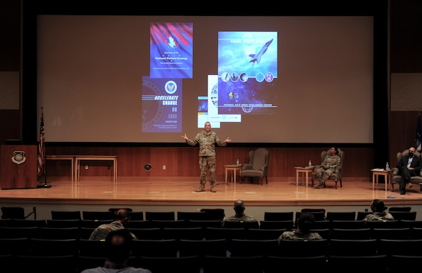 WRIGHT-PATTERSON AIR FOCRCE BASE, Ohio-- Col. Maurizio Calabrese, National Air and Space Intelligence Center commander, rolled out the Center's new flight plan during a town hall in Benson Auditorium here Oct. 15, 2020. ( U.S. Air Force photo by Senior Airman Samuel Earick)