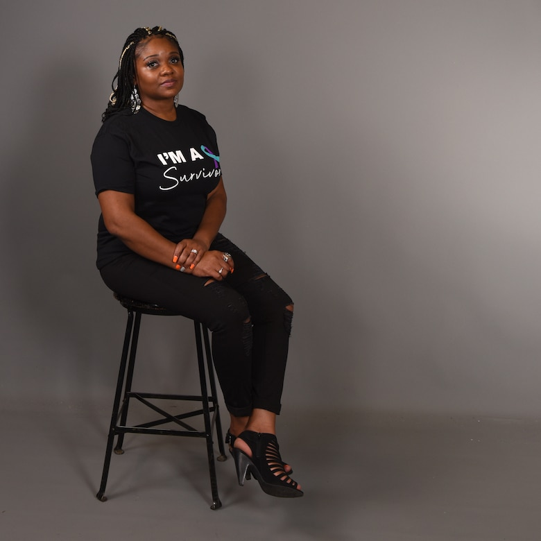 Eva Denson, Military Family Support Liaison for Workforce Solutions and also a member of Goodfellow, advocates for domestic violence awareness and shares her survival story in the Public Affairs photo studio, on Goodfellow Air Force Base, Texas, Oct. 22, 2020. Denson's story wasn't an outlying incident, approximately 44% of full-time employed adults in the U.S. reported experiencing domestic violence in their workplace. October 2020, is National Domestic Violence Awareness Month, declared by U.S. President Donald J. Trump. (U.S. Air Force photo by Senior Airman Abbey Rieves)