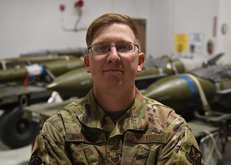 SSgt. William Patrick is a weapons specialist team chief for the 5th Aircraft Maintenance Squadron at Minot Air Force Base, on Oct. 21, 2020. Patrick and the three Airmen that he oversees have spent eight hours loading a full aircraft during the Prairie Vigilance exercise. As a team chief, he is his team's source for information. They will come to him for questions or guidance on anything pertaining to their weapons systems (U.S. Air Force photo by Airman 1st Class Caleb S. Kimmell)