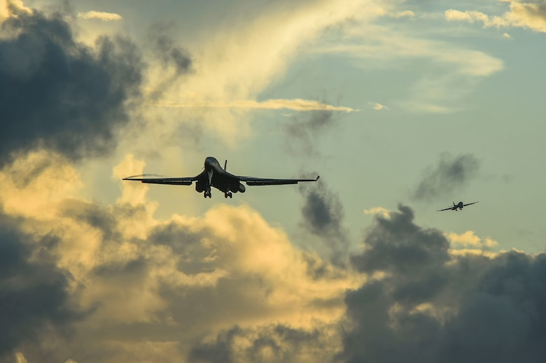 Two B-1B Lancer aircraft prepare to land during a Bomber Task Force deployment at Andersen Air Force Base, Guam, Oct. 21, 2020.