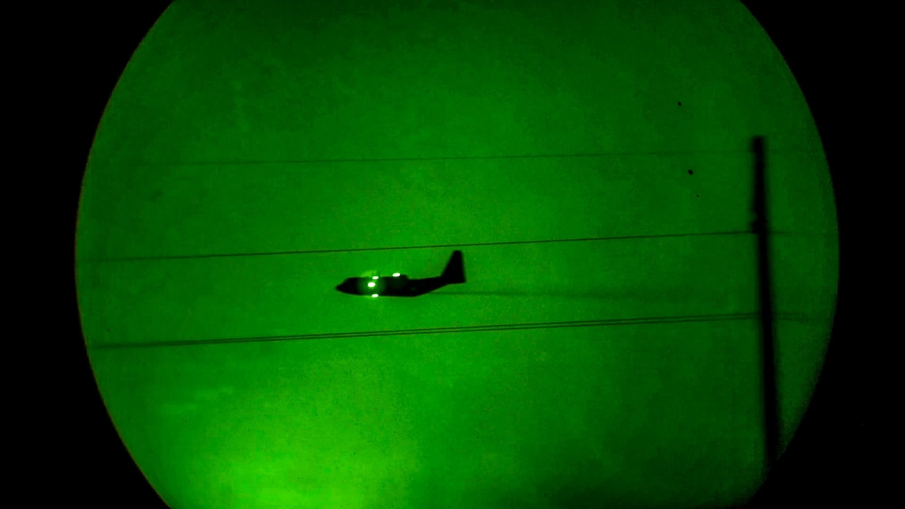 A U.S. Air Force Reserve C-130H Hercules aircraft assigned to the 910th Airlift Wing, equipped with a Modular Aerial Spray System, conducts nighttime mosquito control aerial spray operations over Lake Charles, Louisiana, in the aftermath of Hurricane Delta, Oct. 21, 2020. The C-130s have been spraying since Oct. 20, 2020, and have treated approximately 300,000 acres to date. At the request of FEMA, and upon approval by the Department of Defense, U.S. Northern Command activated the 910th AW to provide aerial spray capability to assist civil authorities in Louisiana. Air Forces Northern, U.S. Northern Command's U.S. Air Force air component command, is the DoD operational lead for the mission. The 910th AW is home to the Department of Defense's only aerial spray capability and dedicated aerial spray maintenance flight. The last time the 910th AW supported Federal Emergency Management Agency hurricane recovery efforts with its aerial spray mission was 2017, when they treated 2.7 million acres of affected areas following Hurricane Harvey. (U.S. Air Force photo by Senior Airman Noah J. Tancer)