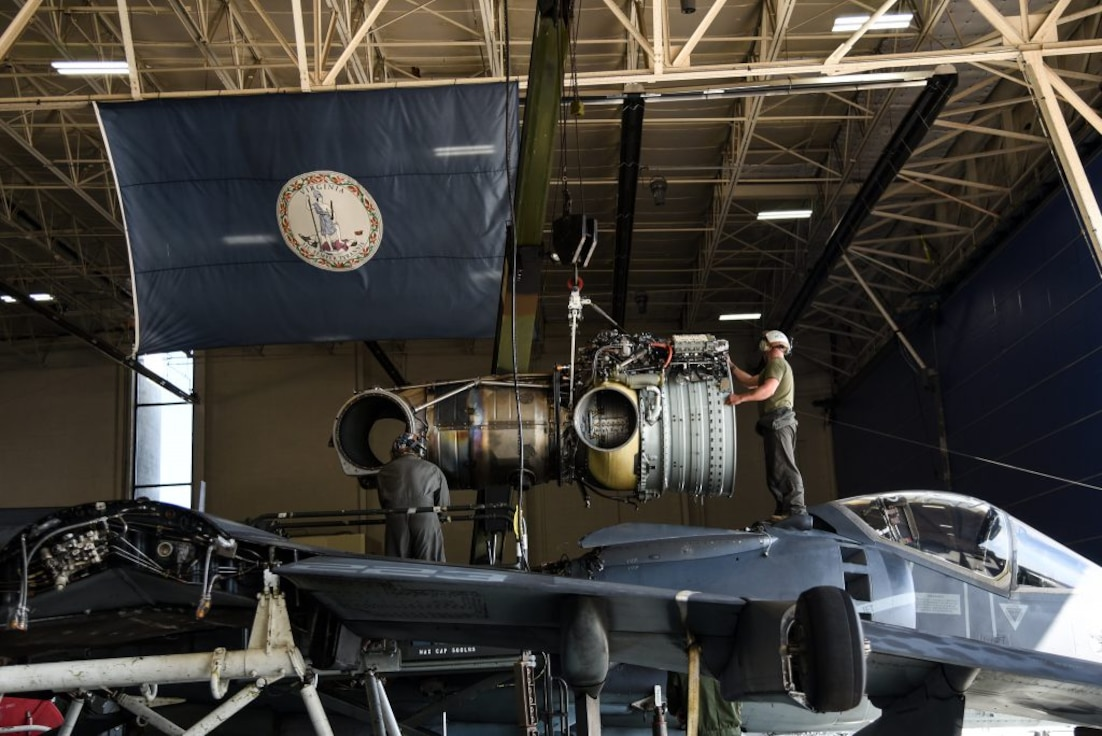 Marines repair Harrier jet engine at Va. Guard aviation facility