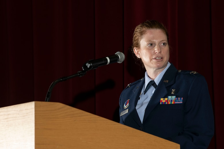 U.S. Air Force Col. Alice Briones, incoming Armed Forces Medical Examiner System director, gives a speech during a change of directorship ceremony at Dover Air Force Base, Delaware, Oct. 21, 2020. AFMES is committed to being the Department of Defense's leader in providing medical-legal services and emerging technologies essential for the readiness, sustainability and survivability of U.S. service members. (U.S. Air Force photo by Senior Airman Christopher Quail)
