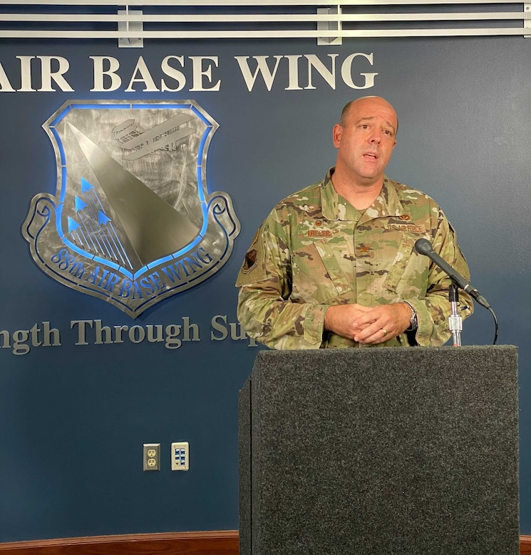 Col. Patrick Miller, 88th Air Base Wing and installation commander, discussed the recent uptick of COVID-19 cases on base and says Wright-Patterson will stay in Health Protection Condition Bravo and Phase 2, initiated a month ago as part of its Return to Full Capacity/Capability Plan.
