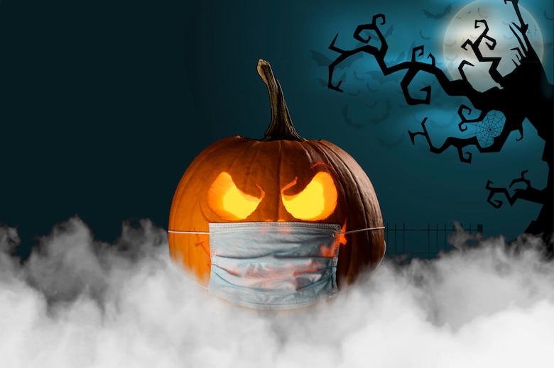 This Halloween photo illustration was created to wish everyone a safe and happy Halloween from the 436th Airlift Squadron at Dover Air Force Base, Delaware. (U.S. Air Force photo illustration by Senior Airman Christopher Quail) (This image was created by adding the official U.S. Air Force symbol to the bottom right, text was added to the top left, smoke was added to the bottom, background was added.)