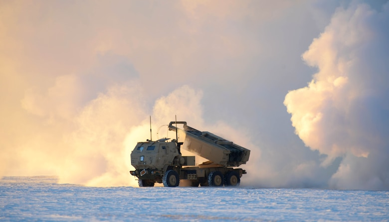 A U.S. Army M142 High Mobility Artillery Rocket Systems (HIMARS) prepares to launch ordnance during RED FLAG-Alaska 21-1 at Fort Greely, Alaska, Oct. 22, 2020. The Alaska Air National Guard and Army worked together to accomplish a rapid infiltration exercise to test how fast a HIMARS could off-load from a cargo aircraft and fire its ordnance. (U.S. Air Force photo by Senior Airman Beaux Hebert)