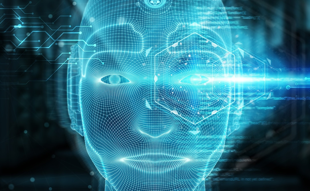 A computer-generated face is rendered in blue lines.