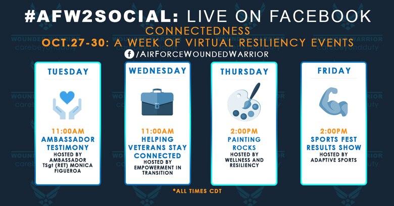 Live AFW2 Facebook events for 27-30 October.