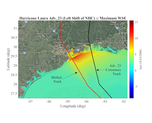 The Advanced Circulation (ADCIRC) model simulation shows maximum water surface elevations along the Texas Coastline during Hurricane Laura using the National Hurricane Center Advisory 23 consensus track shifted left. Researchers at the U.S. Army Engineer Research and Development Center are using numerical modeling systems, like ADCIRC, to help U.S. Army Corps of Engineers districts better prepare for tropical storms by simulating scenarios to look at the possible storm impacts to district maintained and operated structures.