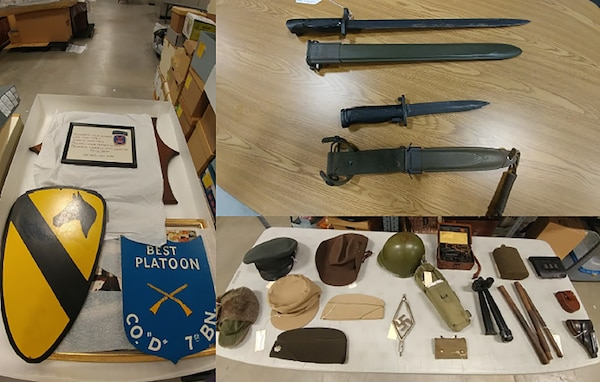Items like signs, knives and head covers are placed on tables for sorting.