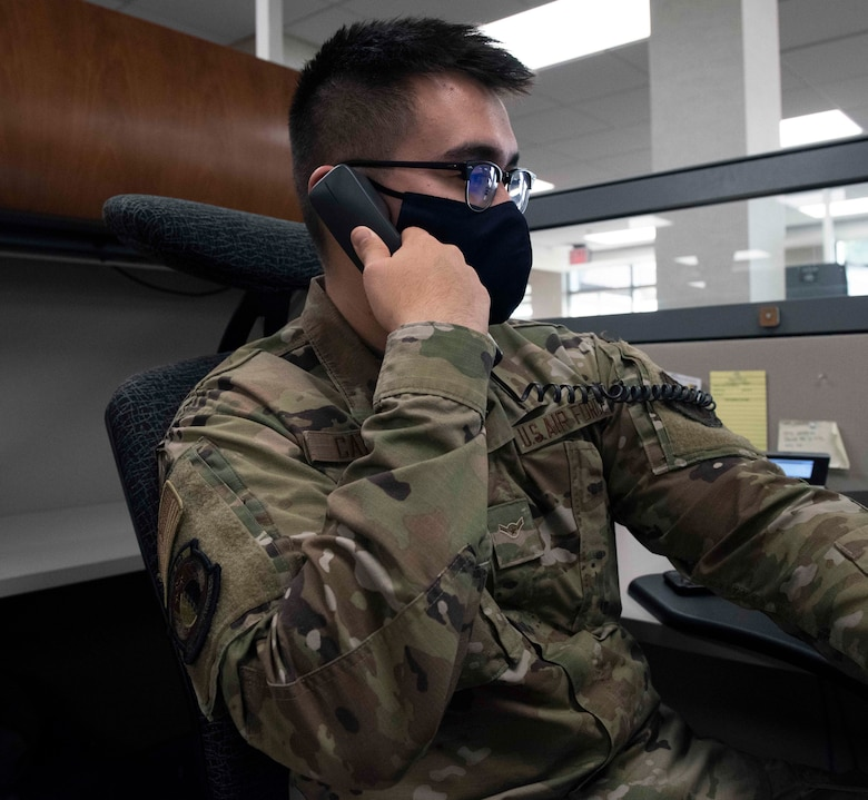 Military member answers phone