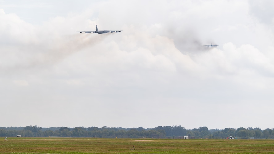 Two B-52H Stratofortresses take off from Barksdale Air Force Base, La., during Global Thunder 21 Oct. 23, 2020. Strategic bomber missions represent U.S. commitment to our allies and enhancing regional security. (U.S. Air Force photo by Airman 1st Class Jacob B. Wrightsman)