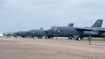 Airmen from the 2nd Security Forces Squadron defend B-52H Stratofortress aircraft during Global Thunder 21 at Barksdale Air Force Base, La., Oct. 23, 2020. U.S. Strategic Command's fundamental mission is to deter, detect and prevent strategic attack against the United States, our allies and partners. (U.S. Air Force photo by Senior Airman Lillian Miller)